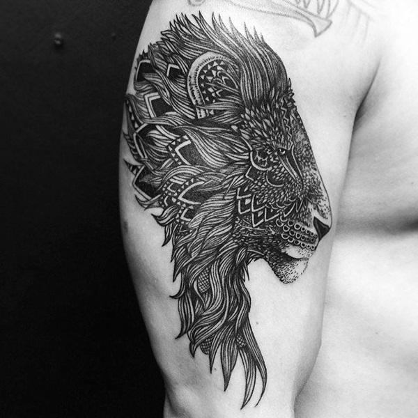 63 desenhos de tatuagem de leão ousado para homens e mulheres