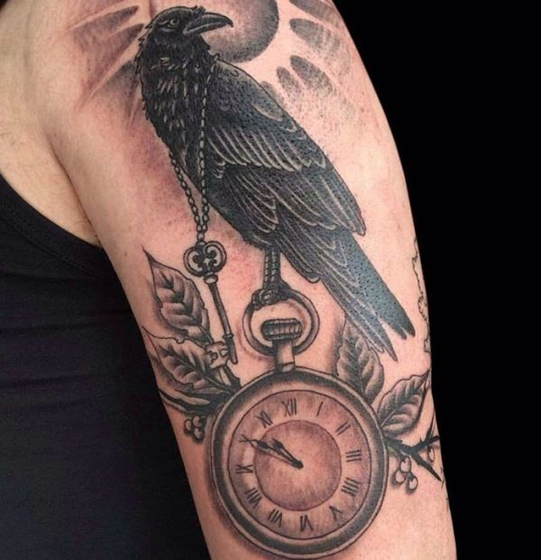 20 tatuagens de corvo muito bonitas - também significa