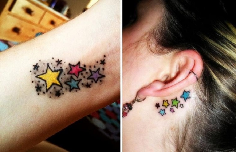 tatuagens de estrelas de diferentes estilos formas e. Black Bedroom Furniture Sets. Home Design Ideas