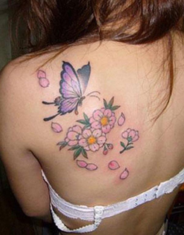 50 Tatuagens De Borboletas Com Flores Para Mulheres